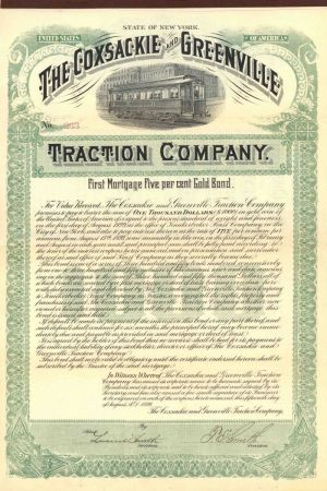 Coxsackie and Greenville Traction Company - $1,000 Bond