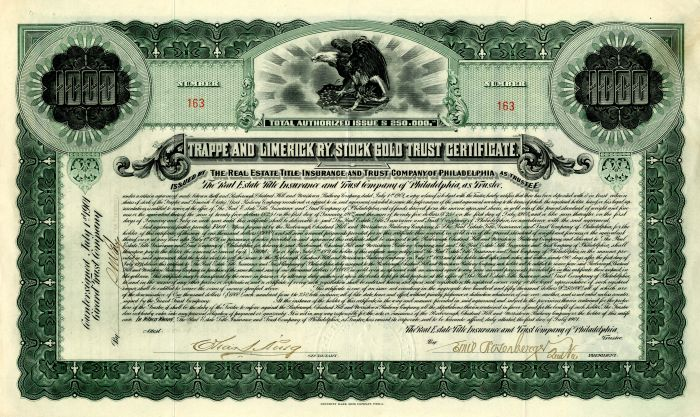 Trappe and Limerick Railway - $1,000 Stock Gold Trust Certificate