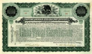 Trappe and Limerick Ry. Stock Gold Trust Certificate - $1,000