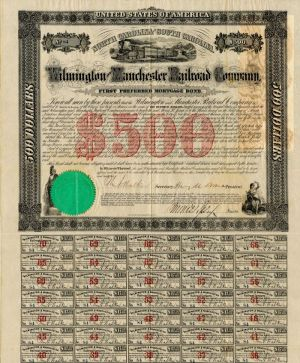 Wilmington and Manchester Railroad Company - $500
