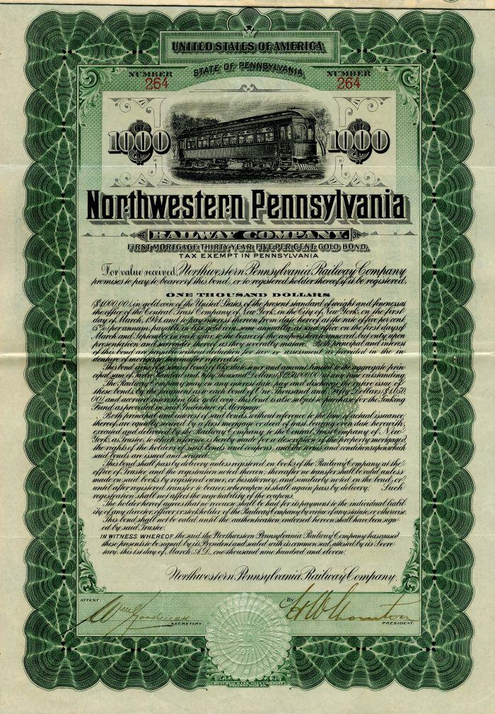 Northwestern Pennsylvania Railway Company - $1,000 Bond