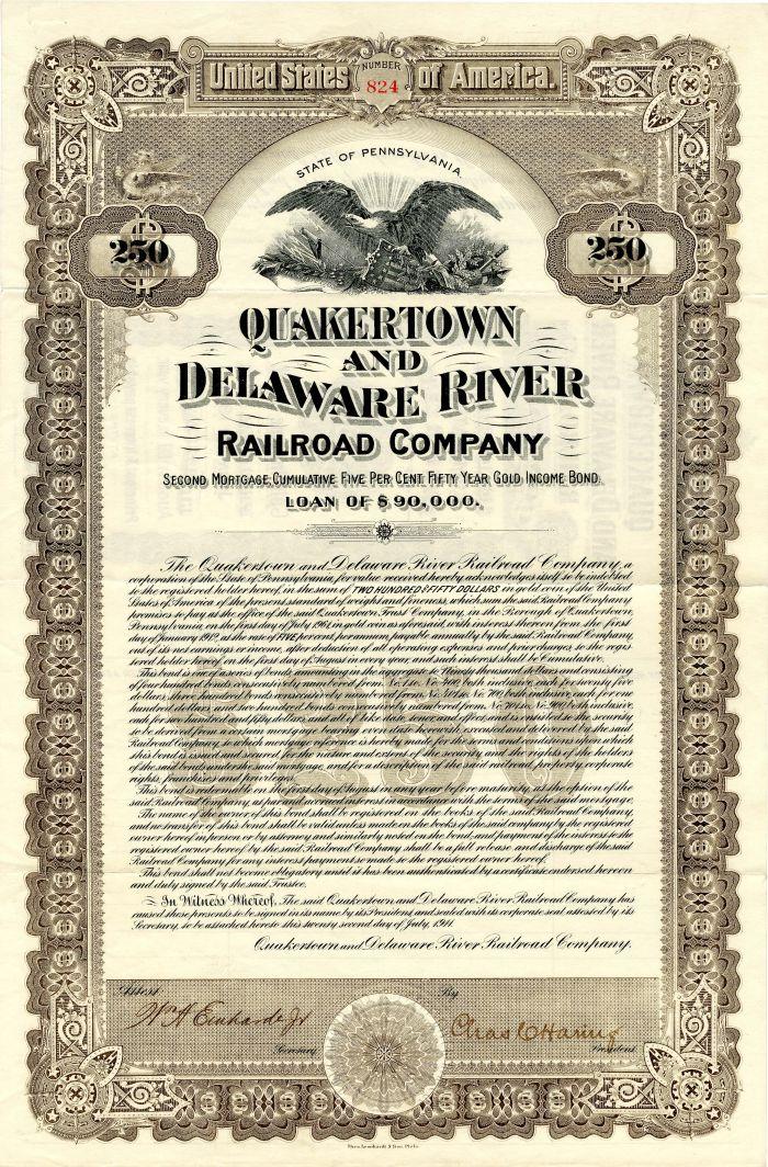 Quakertown and Delaware River Railroad Company - $250 or $100 Bond