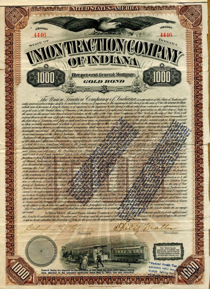 Union Traction Company of Indiana - $1,000 Bond