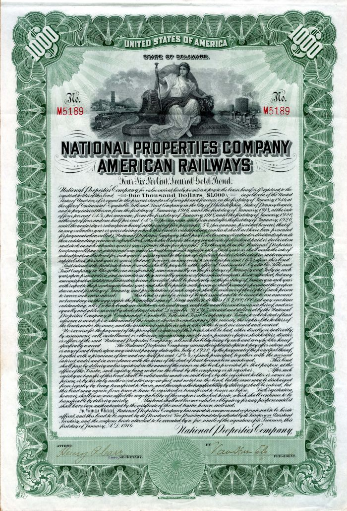 National Properties Company American Railways - $1,000 Bond