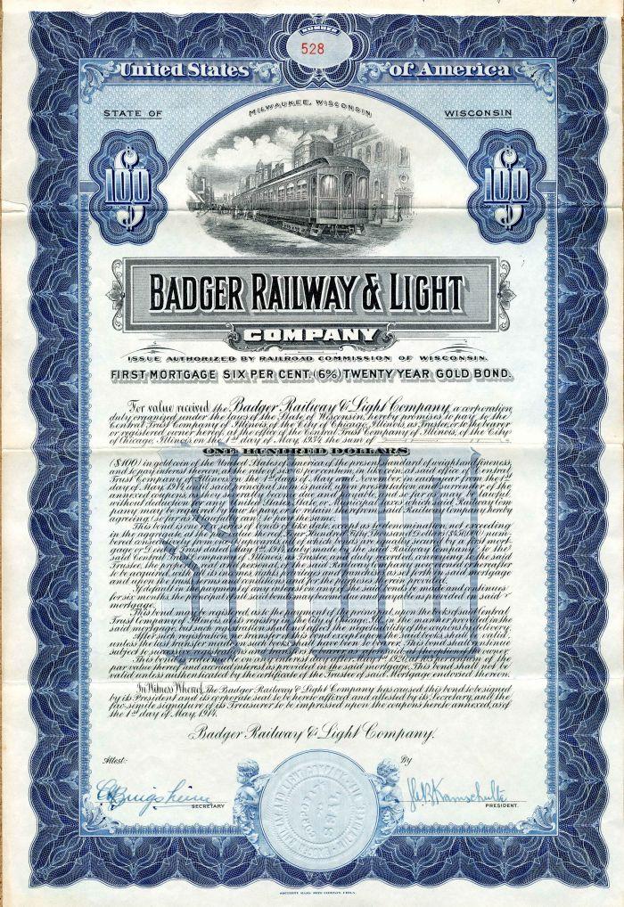 Badger Railway & Light Company - $100 Bond - SOLD