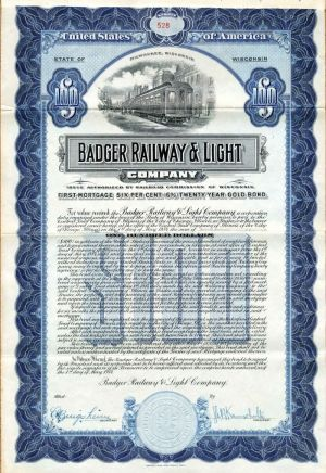 Badger Railway & Light Company - $100 Bond - SOLD