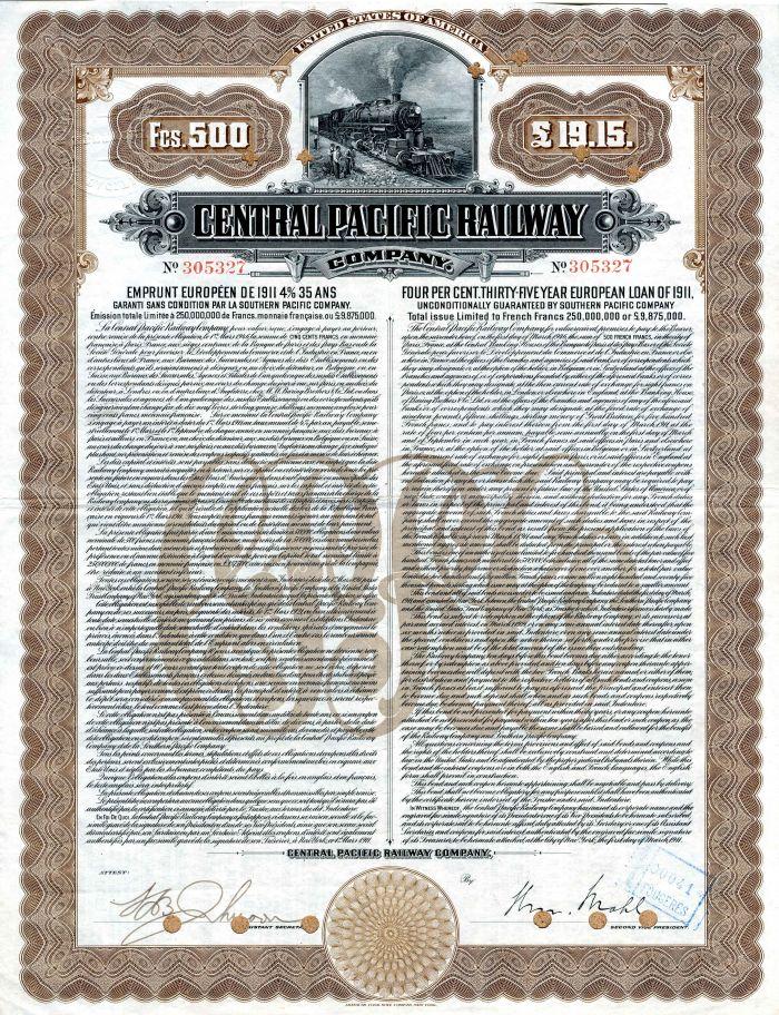 Central Paicifc Railway Company - 500 Francs