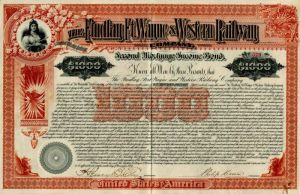 Findlay, Ft. Wayne & Western Railway Company - $1,000 Bond