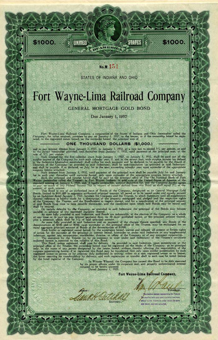 Fort Wayne-Lima Railroad Company - $1,000 or $500 Bond