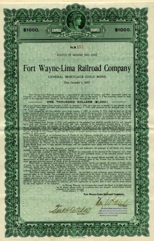 Fort Wayne-Lima Railroad Company - $1,000 or $500 Bond