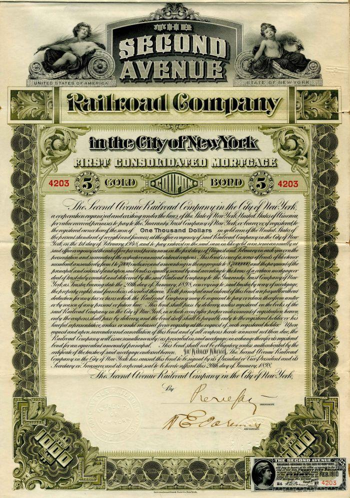 Second Avenue Railroad Company - $1,000 Bond
