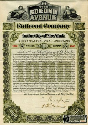 Second Avenue Railroad Company - $1,000 Bond