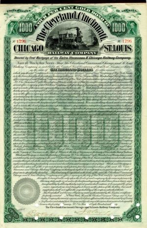 Cleveland, Cincinnati, Chicago and St. Louis Railway Company - $1,000 Bond