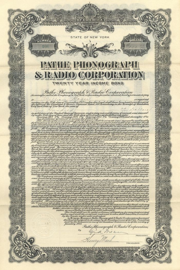 Pathe Phonograph and Radio Corporation Bond - Newly Discovered!