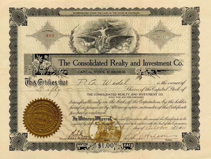 Consolidated Realty and Investment Co. - Stock Certificate