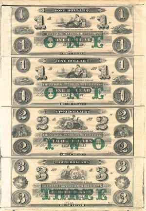 New England Commercial Bank Uncut Obsolete Sheet - Broken Bank Notes - SOLD