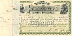 Buffalo, Rochester and Pittsburgh Railway Company - Issued to Roosevelt & Son - Stock Certificate
