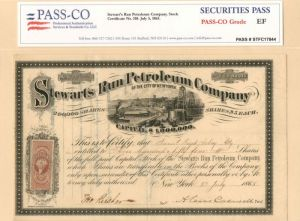 Stewarts Run Petroleum Company of the City of New York - Stock Certificate