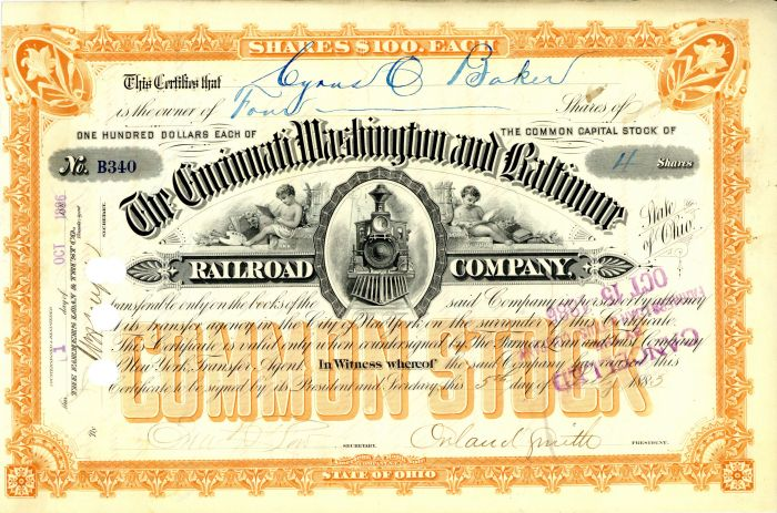 Cincinnati, Washington and Baltimore Railroad Company Signed by Orland Smith - Stock Certificate