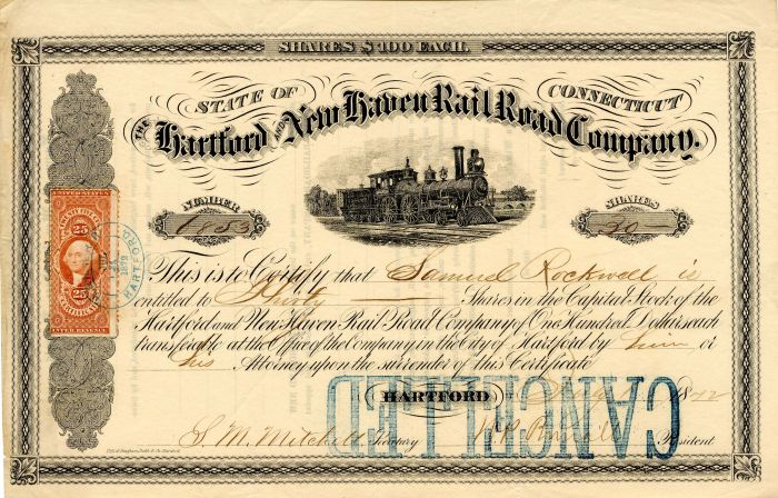 Hartford and New Haven Railroad Company - Stock Certificate