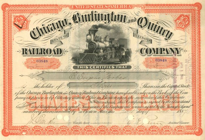 """Chicago, Burlington & Quincy Railroad Company issued to various """"Forbes"""" - Stock Certificate"""