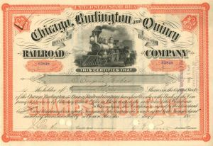 "Chicago, Burlington & Quincy Railroad Company issued to various ""Forbes"" - Stock Certificate"