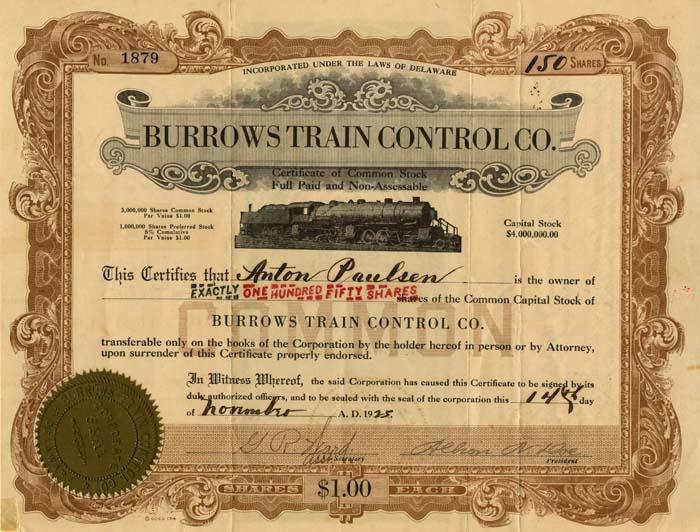 Burrows Train Control Company