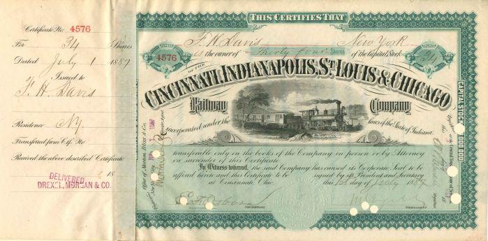 Cincinnati, Indianapolis, St. Louis & Chicago Railway Company transferred to C.P. Huntington - Stock Certificate