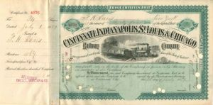 Cincinnati, Indianapolis, St. Louis & Chicago Railway Company transferred to C.P. Huntington - Stock Certificate