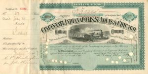 Cincinnati, Indianapolis, St. Louis & Chicago Railway Company transferred from C.P. Huntington - Stock Certificate