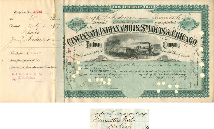Cincinnati, Indianapolis, St. Louis & Chicago Railway Company transferred to Hamilton Fish - Stock Certificate