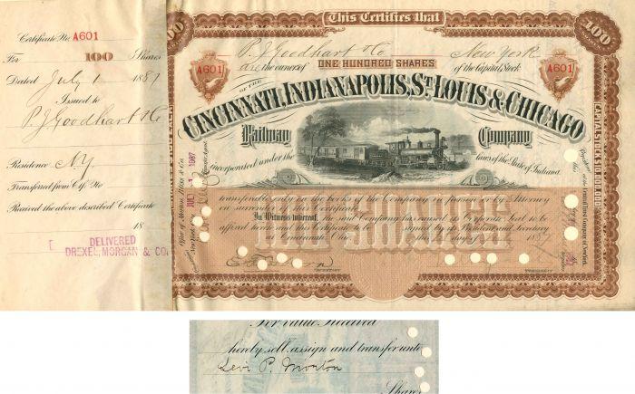Cincinnati, Indianapolis, St. Louis & Chicago Railway Company transferred to Levi Morton - Stock Certificate