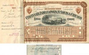 Cincinnati Hamilton /& Indianapolis Railroad Company Stock Certificate Ohio
