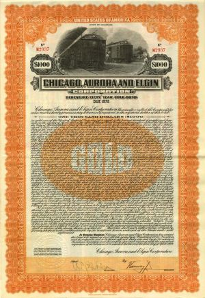 Chicago, Aurora and Elgin Railroad Company $1000 Bond