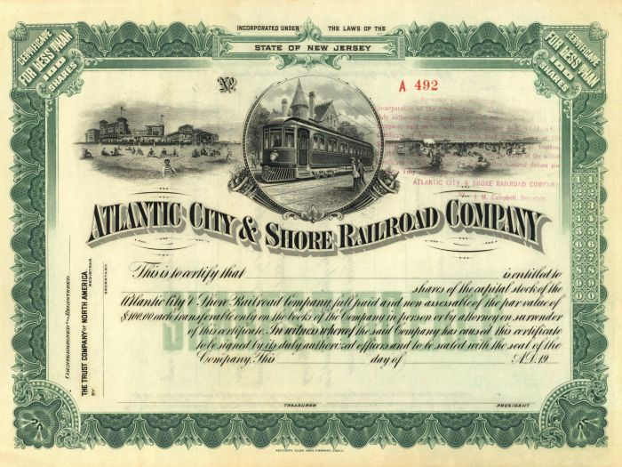 Atlantic City and Shore Railroad Company - Stock Certificate - SOLD