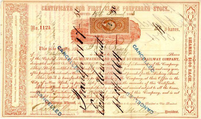 Milwaukee and Prairie Du Chien Railway Company - Stock Certificate