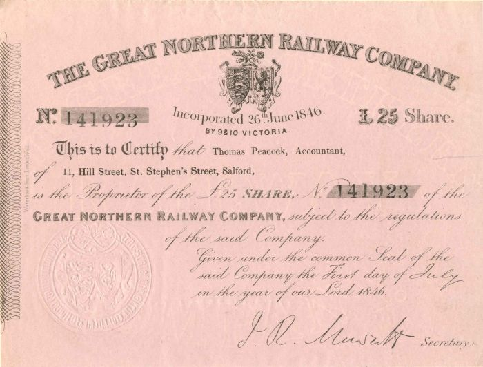 Great Northern Railway Company - Stock Certificate