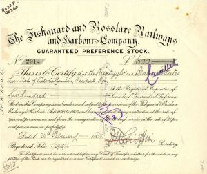 Fishguard and Rosslare Railways and Harbors Company - Stock Certificate
