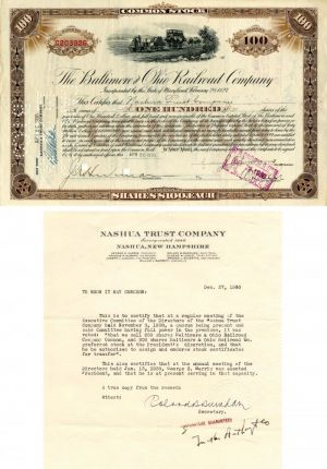 Baltimore and Ohio Railroad Company issued to Nashua Trust Company