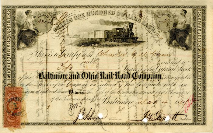 Baltimore and Ohio Rail-Road Company - Stock Certificate