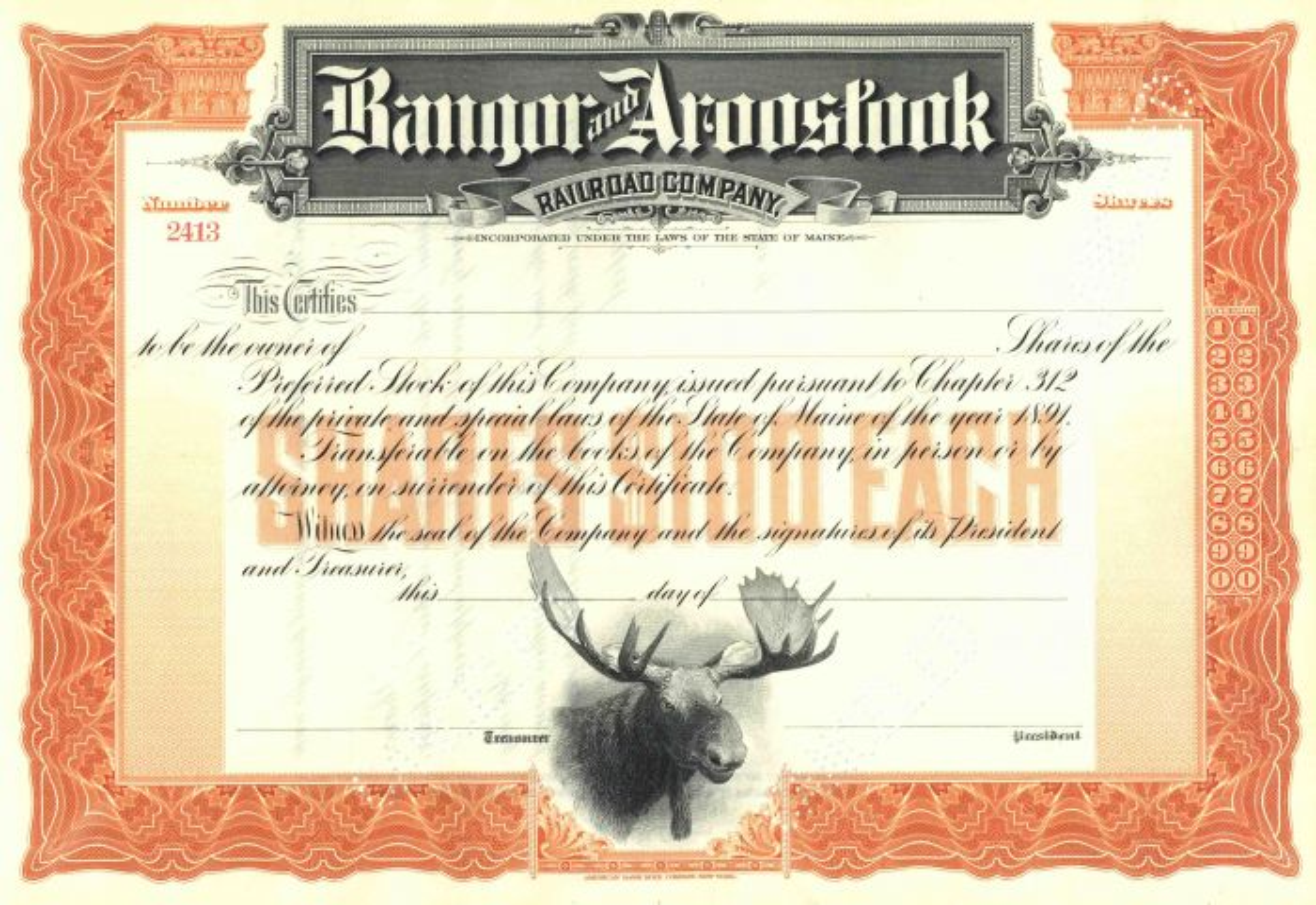 Bangor and Aroostook Railroad - Gorgeous Moose Vignette - Stock Certificate
