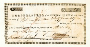 Francis R. Lubbock - Republic of Texas Warrant - SOLD