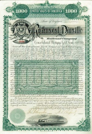 Richmond & Danville Railroad - Bond