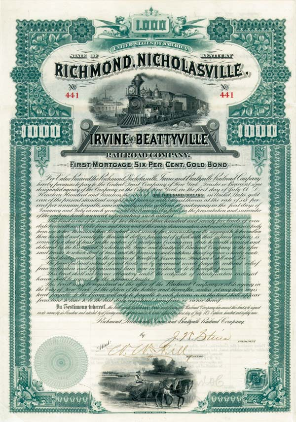 Richmond, Nicholasville, Irvine & Beattyville Railroad - Bond