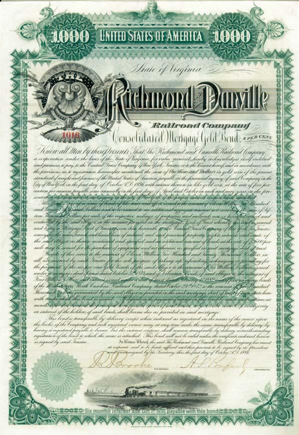 Richmond & Danville Railroad - Bond