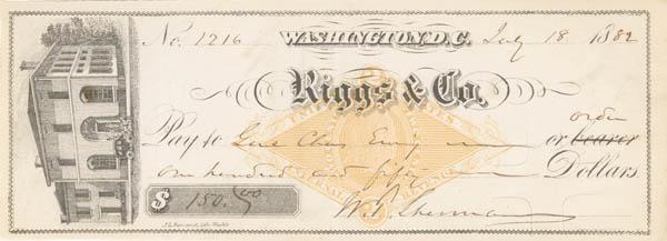 General Wm. T. Sherman - Check - Washington DC