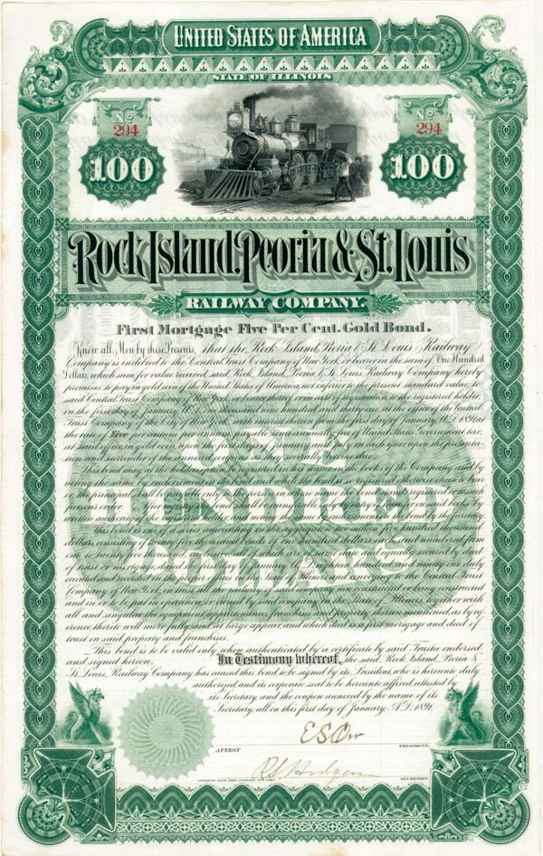Rock Island, Peoria and St. Louis Railway - Bond
