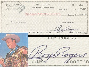 Roy Rogers signed Check
