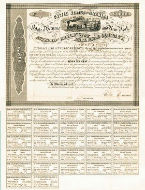 Rutland and Washington Rail Road Company $1,000 7% Bond signed by Erastus Corning