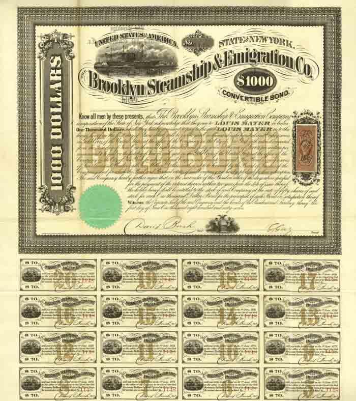 Brooklyn Steamship and Emigration Company $1000 Bond (Uncanceled)